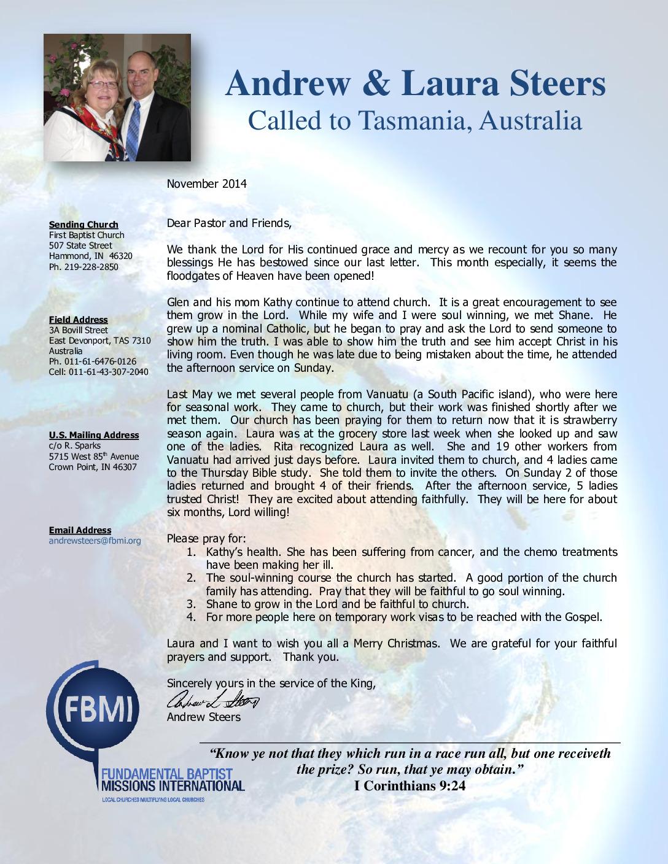 thumbnail of Andrew Steers November 2014 Prayer Letter