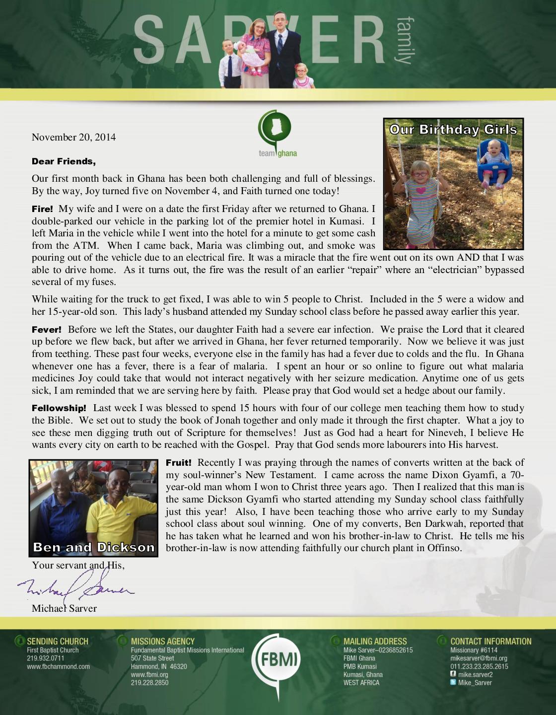 thumbnail of Mike Sarver November 2014 Prayer Letter