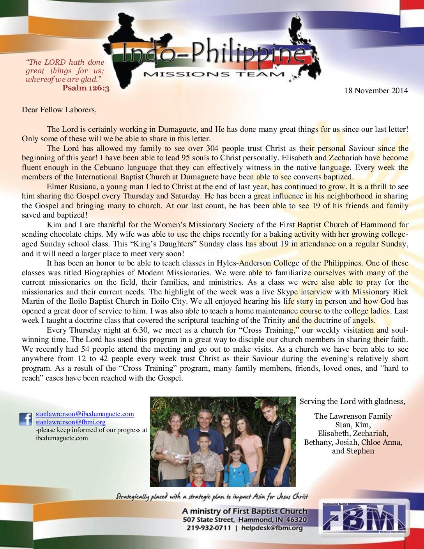 thumbnail of Stan Lawrenson November 2014 Prayer Letter