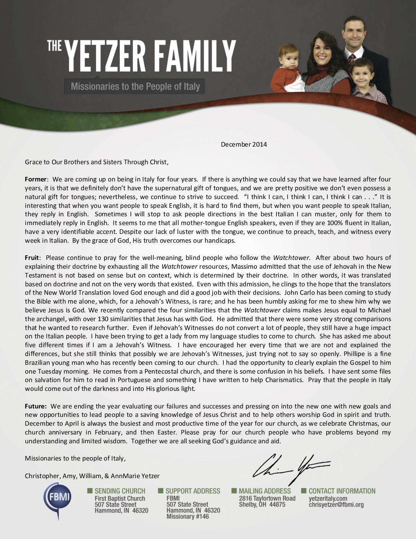 thumbnail of Christopher Yetzer December 2014 Prayer Letter
