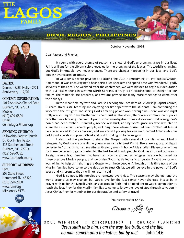 thumbnail of Dennis Lagos Oct-Nov 2014 Prayer Letter