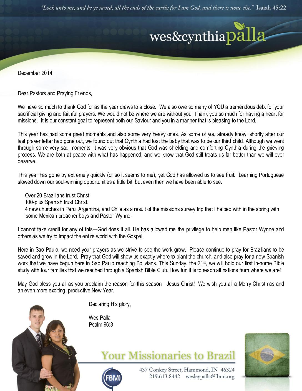 thumbnail of Wes Palla December 2014 Prayer Letter