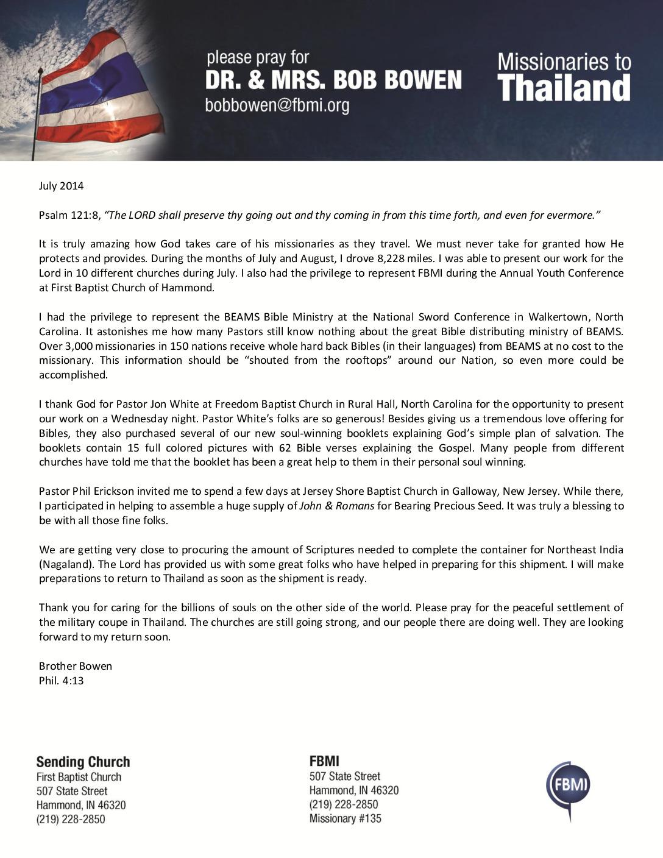 thumbnail of Bob Bowen July 2014 Prayer Letter