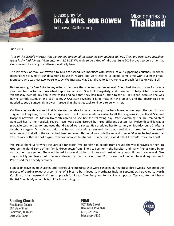 thumbnail of Bob Bowen June 2014 Prayer Letter