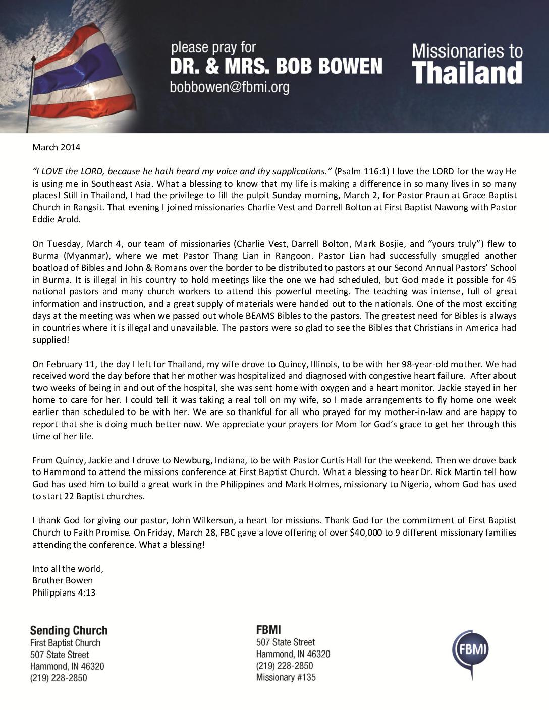 thumbnail of Bob Bowen March 2014 Prayer Letter