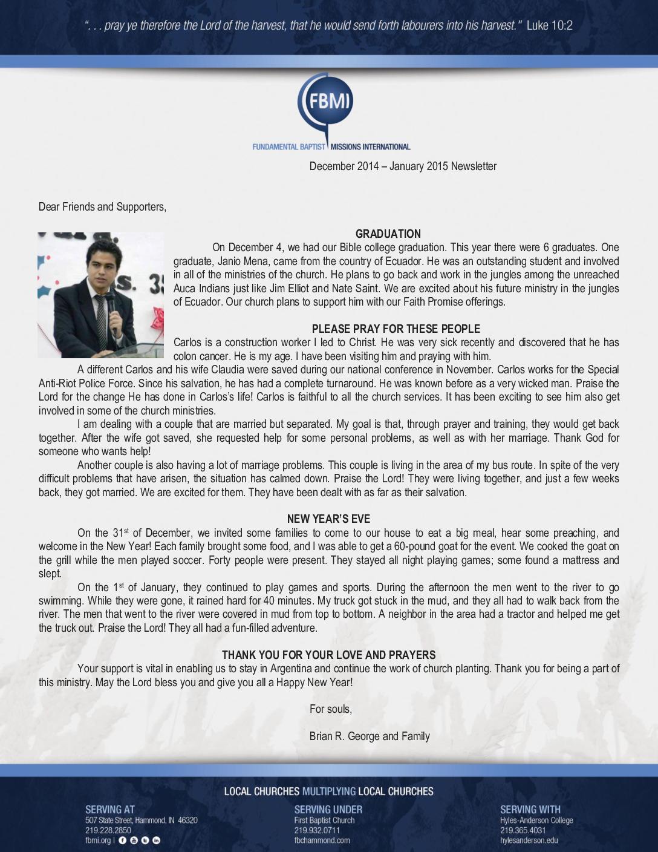 thumbnail of Brian George Dec 2014-Jan 2015 Prayer Letter