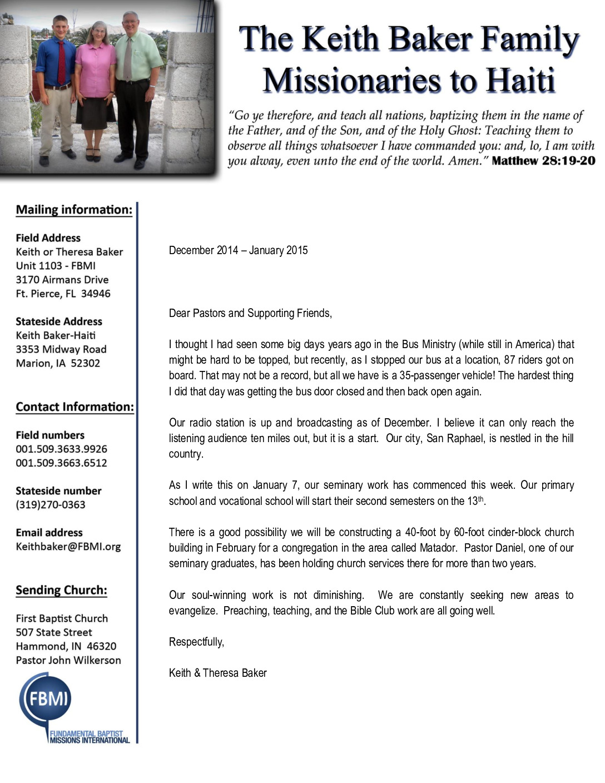 thumbnail of Keith Baker Dec 2014-Jan 2015 Prayer Letter