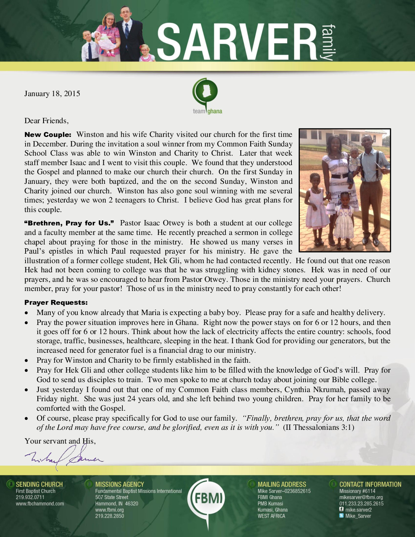 thumbnail of Mike Sarver January 2015 Prayer Letter