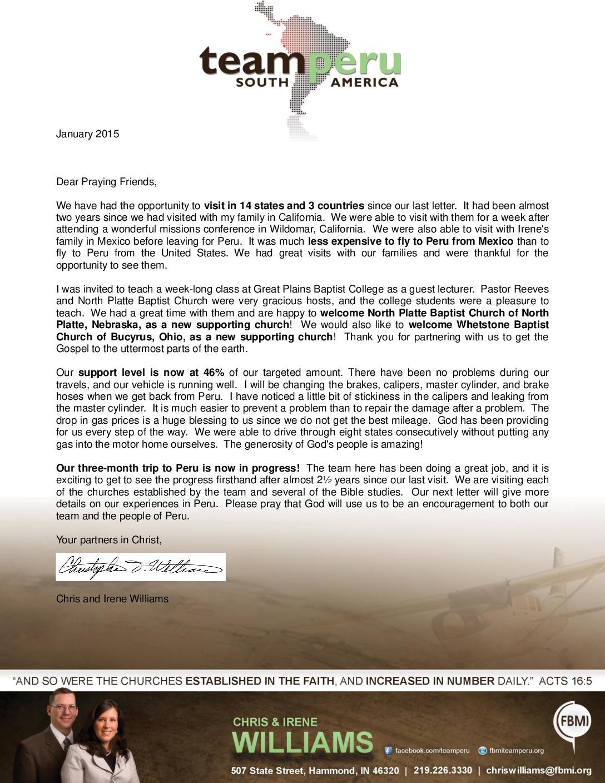 thumbnail of Chris Williams January 2015 Prayer Letter