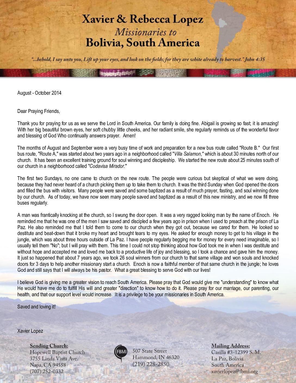 thumbnail of Xavier Lopez Aug-Oct 2014 Prayer Letter