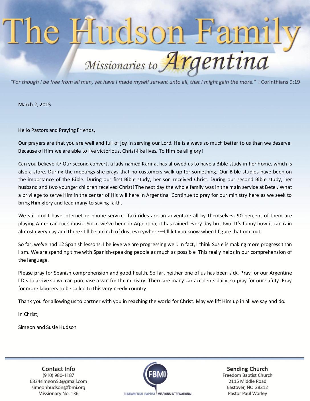 thumbnail of Simeon Hudson March 2015 Prayer Letter