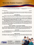 Walter Poole Prayer Letter:  Much Fruit to Your Account