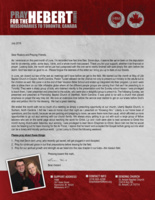 """<a href=""""https://www.fbmi.org/media/2018/07/Brian-Hebert-July-2018-Prayer-Letter.pdf""""><img src=""""https://i1.wp.com/www.fbmi.org/media/2018/07/Brian-Hebert-July-2018-Prayer-Letter.pdf.jpg?resize=155%2C200&ssl=1""""></a>As I reminisce on this past month of June, I'm reminded how fast time flies. Some days, it seems like we've been on the deputation trail for an eternity; while, some days, I blink, and a whole month has passed. Thank you for your support, whether it be financial or prayer. Looking back, the month we've just had juxtaposed with the one we're nearly finished with was simply the calm before the storm. God has been so good to us.  Please forgive the lateness of this letter as I bring you up to date on our travels. In June, we closed out two of the last six meetings we'll have before we get to the field. We started out the month at Way of Life Baptist Church in Clayton, North Carolina. Pastor Tucker allowed me the chance not only to present our ministry to the adults but to the children as well. We came in at the end of their Vacation Bible School and ended up integrated into their program. Liz and I were able to show them on our little inflatable globe where all the different people groups are coming from that we'll be preaching to in Toronto. They were a sharp group of kids, who listened intently to the presentation and the Sunday school lesson I was privileged to teach them. I later presented and preached to the adults, who were also a delightful group to preach to. The following Sunday, we presented and preached at Friendship Baptist Church of Stanfield, North Carolina. It was great to be with a church that placed emphasis on prayer the way they did. We took an extensive time before the service ever started to get on our knees before God's altar and petition Him for His blessing.  We had a great meeting.   We ended the month with not so much of a meeting as simply a preaching opportunity at our church, Liberty Baptist Church, in Durham, North Carolina. I fe"""