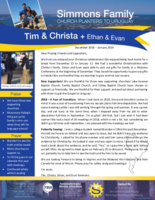 Tim Simmons Prayer Letter:  Increased Support by Three!