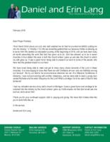 Daniel Lang Prayer Letter:  Excited to Start!