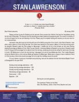 Stan Lawrenson Prayer Letter:  God's Blessings on Your Investments