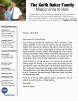 Keith Baker Prayer Letter:  Back on the Field