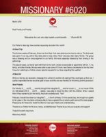 """<a href=""""https://www.fbmi.org/media/2019/03/M6020-March-2019-Newsletter.pdf""""><img src=""""https://i1.wp.com/www.fbmi.org/media/2019/03/M6020-March-2019-Newsletter.pdf.jpg?resize=155%2C200&ssl=1""""></a><em>""""Blessed be the Lord, who daily loadeth us with benefits . . . .""""</em> (Psalm 68:19)  Our Father's blessings have seemed especially abundant this month! <h3><strong>A Great Trip</strong></h3> The first two weeks of February, three men from New York were able to come here to visit us. The first week was spent in our city, where they were able to enjoy many """"firsts"""" and also meet many friends. The group was a blessing and an encouragement to our family. We were especially blessed by their sharing in the gatherings.  The second week, our family went with them to the north, where we were able to spend time with Dr. Y, his family, and other friends. We also were able to see some of China's most famous landmarks for the first time! It was fun watching our Father answer special requests for our boys regarding the weather! <h3><strong>A New Car</strong></h3> While on the trip, we received a message from a friend in another city asking if they could give us their car. I quickly responded that we would be glad to have one! We are very thankful for His timing and His provision! <h3><strong>New Friends</strong></h3> Our friends, H___ and E___, recently brought their daughter B___ and her cousin J___ to our house. While my wife talked with E___ and H___ rested, I was able to share the Story with the children. When I asked them if they wanted to join the family, they both excitedly said, """"Yes!""""  February 2 would have been our daughter T___'s fourth birthday. On this special day, we brought our guests to her grave in the mountains and were able to have a special time of sharing with some of the local people. Please pray for those who heard the Story to have open hearts and understanding.  Thanks to our Father for His love, mercy, and faithfulness! Thanks to you for your prayers and su"""