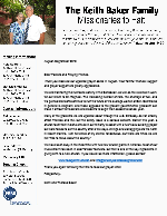 Keith Baker Prayer Letter:  You Are Greatly Appreciated