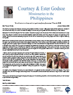 Courtney Godsoe Prayer Letter: Taal Volcano Leads to People Saved