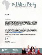 Mark Holmes Letter: Evacuation Flight