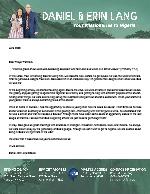 Daniel Lang Prayer Letter: Different Opportunities!