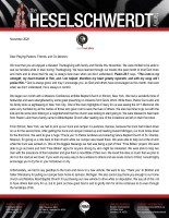 Brandon Heselschwerdt Prayer Letter: God Is Always in Control