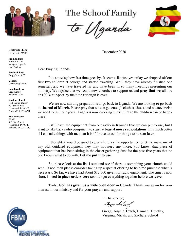 thumbnail of Gregg Schoof December 2020 Prayer Letter – Revised