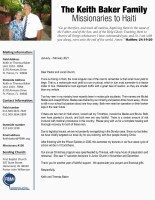 Keith Baker Prayer Letter: Thank You for Your Continued Support