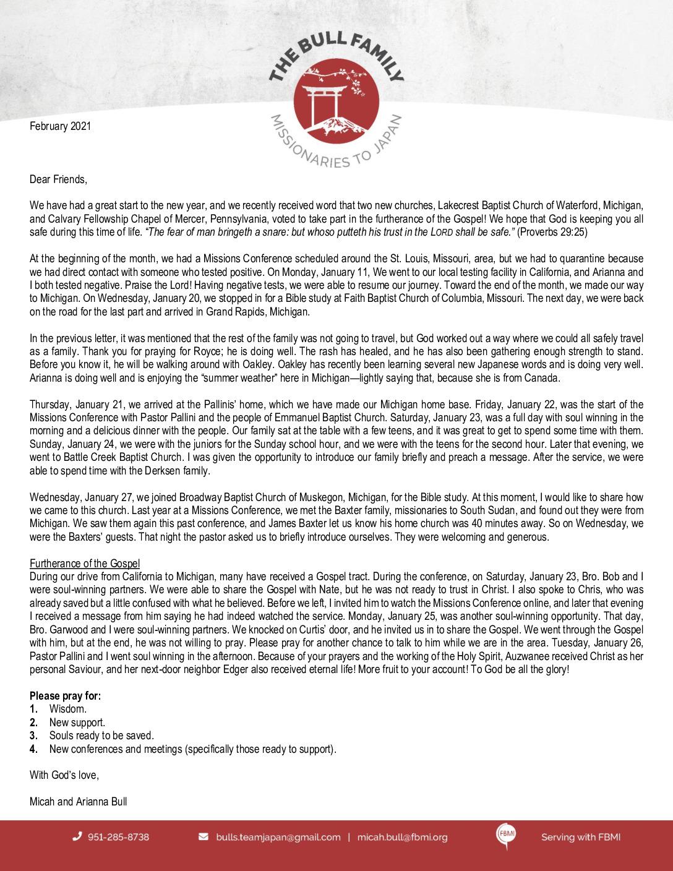 thumbnail of Micah Bull February 2021 Prayer Letter – Revised