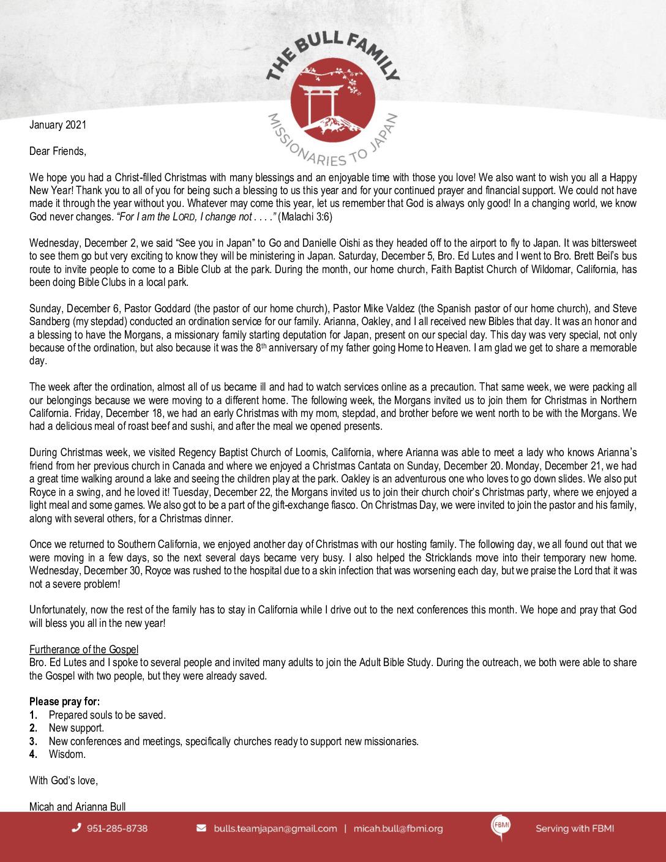 thumbnail of Micah Bull January 2021 Prayer Letter – 2