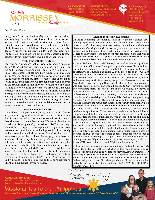 thumbnail of Mike Morrissey January 2021 Prayer Letter – Revised