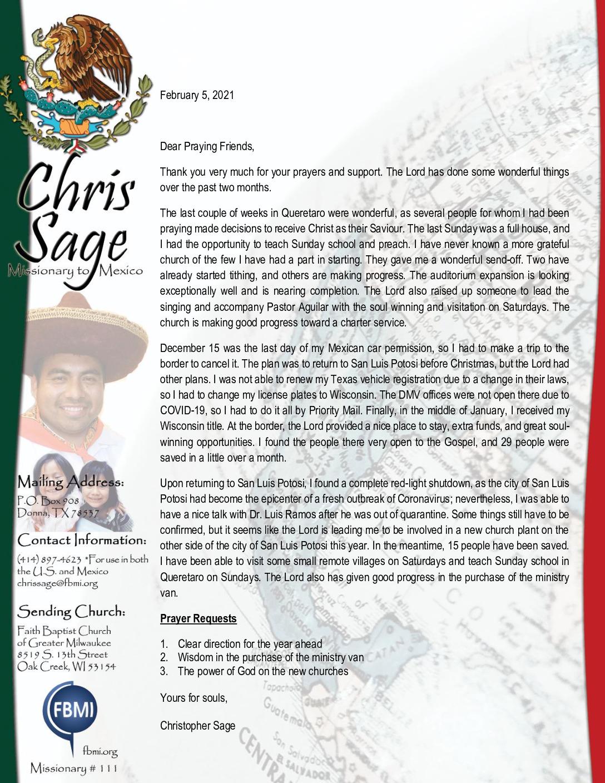 thumbnail of Christopher Sage February 2021 Prayer Letter
