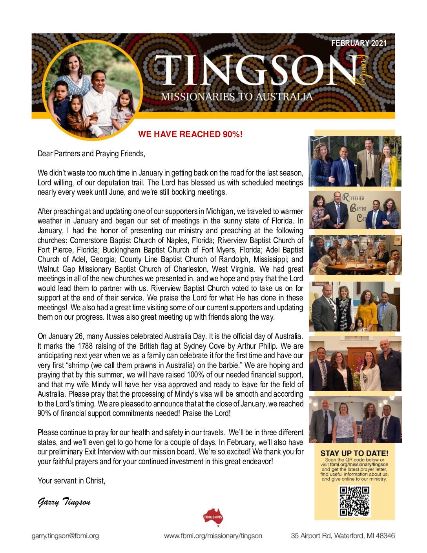 thumbnail of Garry Tingson February 2021 Prayer Letter