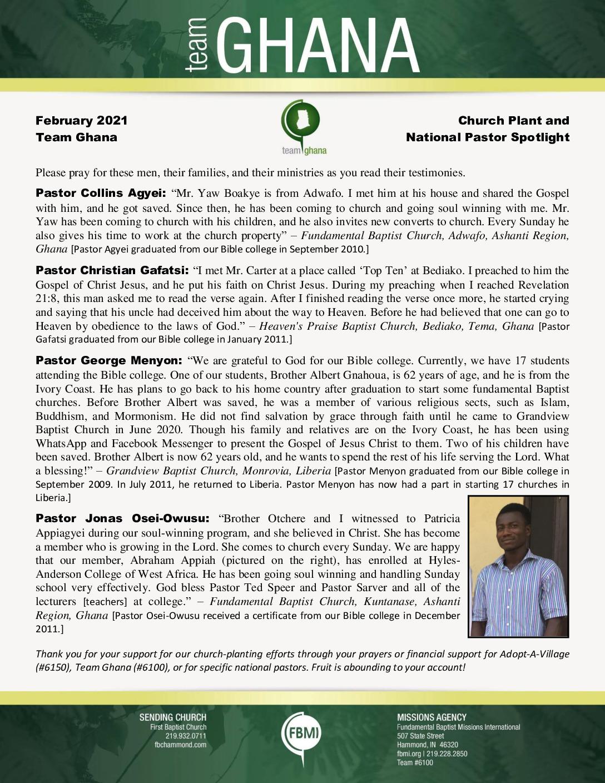 thumbnail of Team Ghana February 2021 National Pastor Update