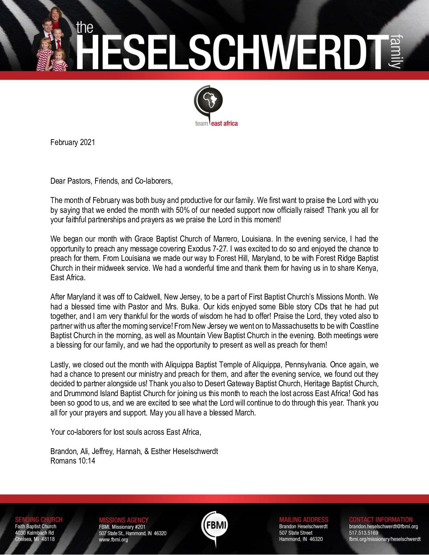 thumbnail of Brandon Heselschwerdt February 2021 Prayer Letter