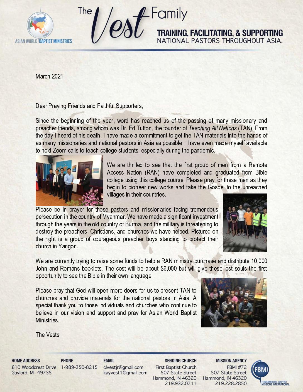 thumbnail of Charlie Vest March 2021 Prayer Letter