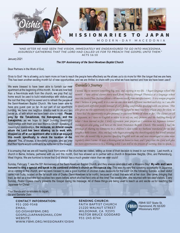 thumbnail of Go Oishi February 2021 Prayer Letter