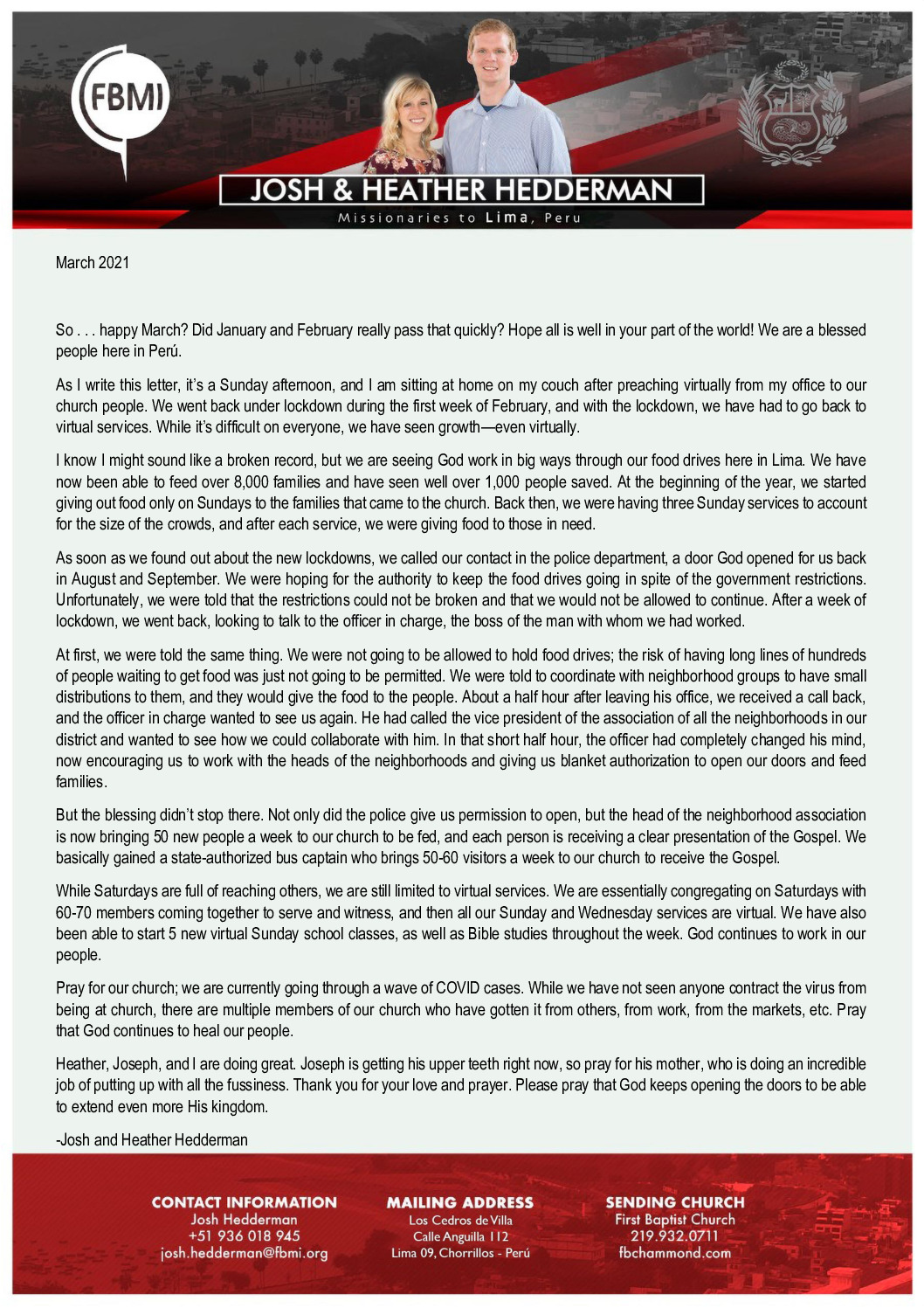 thumbnail of Josh Hedderman March 2021 Prayer Letter