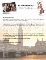 Justin Williams Prayer Letter:  I Believe God
