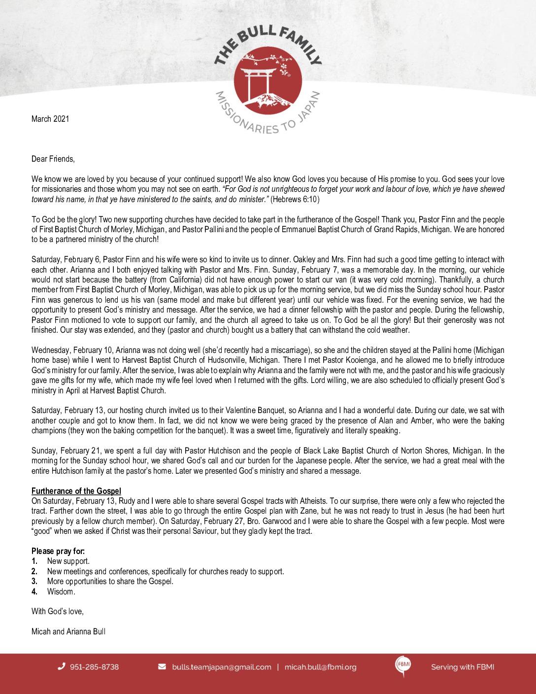 thumbnail of Micah Bull March 2021 Prayer Letter