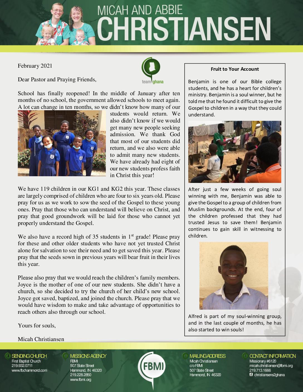 thumbnail of Micah Christiansen February 2021 Prayer Letter