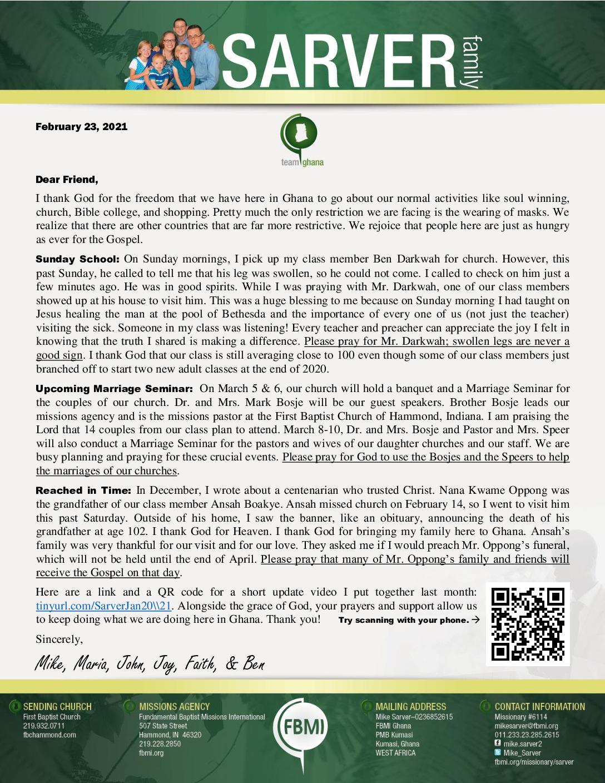 thumbnail of Mike Sarver February 2021 Prayer Letter – Revised