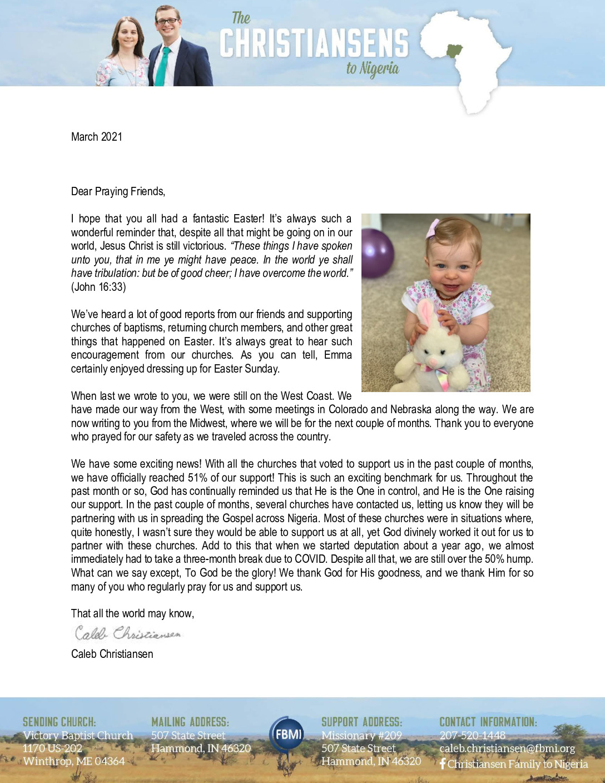 thumbnail of Caleb Christiansen March 2021 Prayer Letter