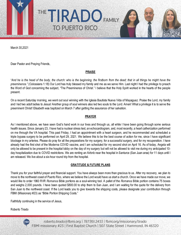 thumbnail of Roberto Tirado March 2021 Prayer Letter – Revised