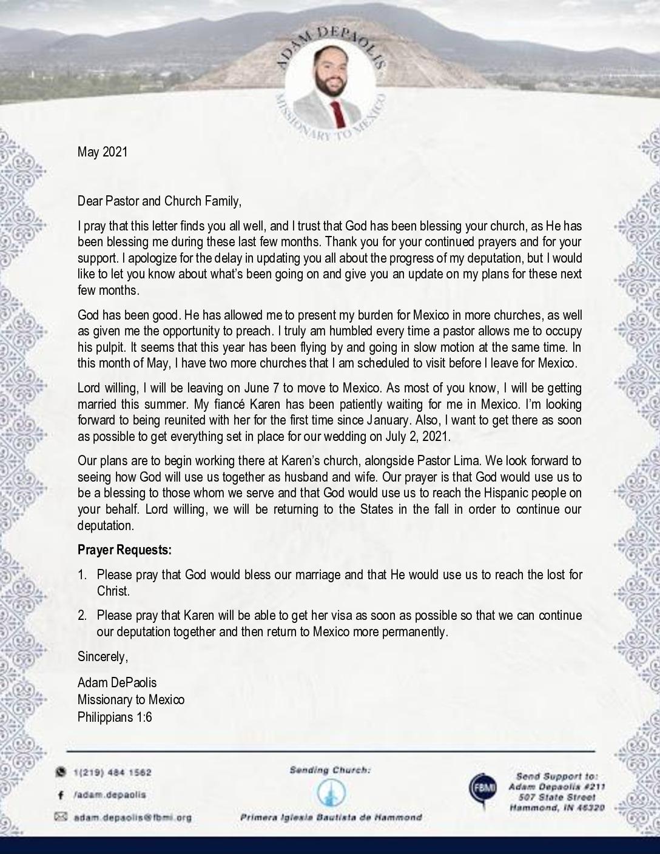 thumbnail of Adam DePaolis May 2021 Prayer Letter