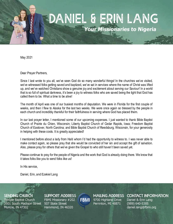 thumbnail of Daniel Lang May 2021 Prayer Letter