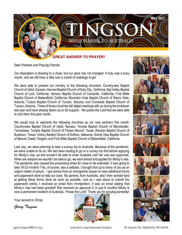 thumbnail of Garry Tingson May 2021 Prayer Letter
