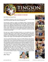 Garry and Mindy Tingson Prayer Letter: A Great Answer to Prayer