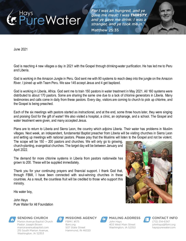 thumbnail of John Hays June 2021 Prayer Letter